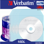 10 PZ DVD+R VERBATIM  8X 8,5GB 240 MIN. AZO DUAL LAYER    ( IN CAKEBOX  DA 50  PEZZI ) + BUSTINE ,  DVD DL DOUBLE LAYER PER GIOCHI XBOX E FILM