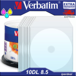 10 PZ  DVD+R VERBATIM  8X 8,5GB 240 MIN. AZO DUAL LAYER PRINTABLE     ( IN CAKEBOX  DA 50  PEZZI )   DVD DL DOUBLE LAYER STAMPABILI