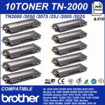 10 CARTUCCE  LASER TONER , COMPATIBILE  STAMPANTE BROTHER  TN2000 MFC7420 MFC7820N DCP7010L DCP7020 HL2030 2035