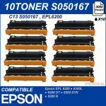 10 Toner compatibile Epson EPL 6200 6200N 6200L epl6200 6000 copie  EPSON RC-SO50167
